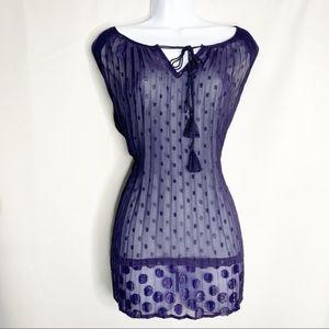 Lane Bryant sheer purple 14 blouse tank sparkle